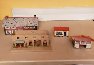LOT of 4 Vintage 1950's Tin Litho Train Buildings - Houses - Ohio Art - Japan ++