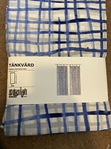IKEA Tankvard Curtains 1 Pair 704.268.96 Size 57x118 cotton blue white