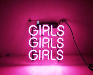 "10""x10""GIRLS GIRLS GIRLS Neon Sign Live Photograph Background Light Artwork Gift"