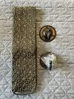 New+Pottery+Barn+Set+of+2+Silk+Beaded+Curtain+Tie+Back+with+Wall+Hooks+Green