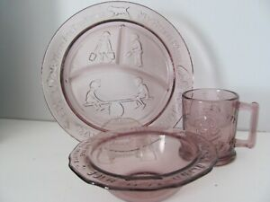 VTG Tiara Amethyst Glass 3pc Nursery Rhyme Child's Meal Set