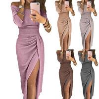 Sexy Women's Off Shoulder Elegant Bodycon Evening Cocktail Party Long Slit Dress