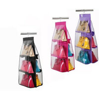 6 Pockets Shelf Hanging Handbag Storage Organizer Tote Bag Closet Wardr