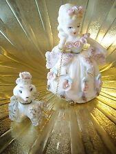 Rare Vtg Lefton Southern Belle Princess Girl w/ Poodle Figurine Mint Gorgeous