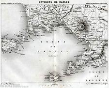 GOLFO DI NAPOLI: Carta Geografica. Vesuvio, Ischia,Capri. Acciaio. DU PAYS. 1859