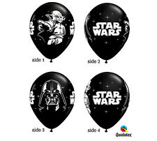"10 Star Wars 11""  Latex Balloons Black White Qualatex birthday party decorations"