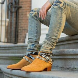 New Handmade Pure Suede Leather Beige Stylish Chain Ankle Strap Boot for Men