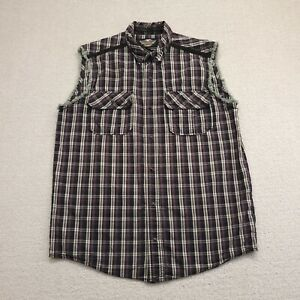 HARLEY-DAVIDSON Mens Plaid Sleeveless Blowout-Woven Button Up Shirt Large L