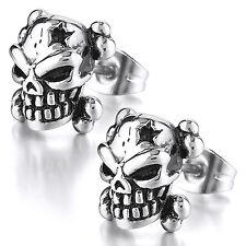 MENDINO Men's Stainless Steel Stud Earrings Star Skull Head Biker Gothic Silver