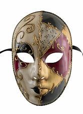 Maske Venetian Verkleidung Schwarz Rot Gold- Mystery Karneval Venedig 929 V64