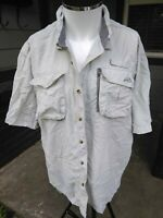 Men XL Natural Gear Fishing Outdoor Camp Shirt Light Gray Short Sleeve 2 Pockets