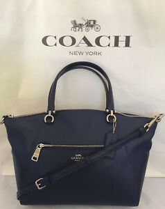 COACH F79997 Pebble Leather Prairie Satchel  Handbag Crossbody SV/Cadet NWOT