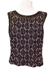 Adrianna Papell Womens XL Top Fitted Silk Embellished Sleeveless Evening Black