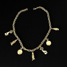 Vintage Dangle Charms Necklace Gold Chain Links Tassels