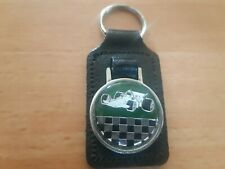 VINTAGE race CAR  MODEL METAL KEYCHAIN keyring leather made in england brit