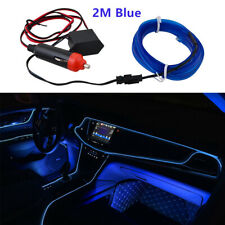 LED Car Auto Interior Decorative Atmosphere Wire Strip Blue Light Lamp 2M 12V