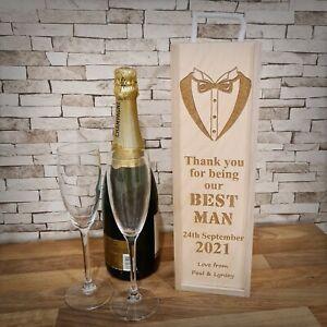 Personalised Wooden Wine Bottle Gift Box ~ Best Man ~ Laser Engraved