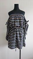 Shona joy Paloma Blue Striped Off Shoulder Puff Sleeve mini Dress AU 6 8 10