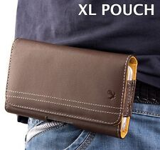 XL LARGE Phones - BROWN Leather Horizontal Pouch Holder Belt Clip Holster Case