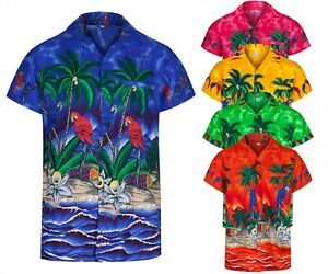 MENS HAWAIIAN SHIRT STAG FANCY DRESS BEACH PARTY ALOHA SUMMER PARROT SIZE S -2XL