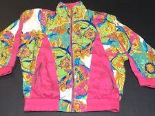 Vintage 90s Clipper Bay Track Suit Jacket Gold Purple Pink Teal Sz 1X G39