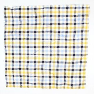 "Mens Silk Pocket Square Blue Gold White Navy Check Plaid 13"" Dandy Gents Hanky"