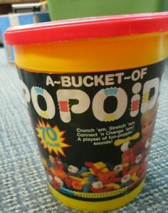 Popoids Vintage 1985 Tomy Bucket of 70 Pieces Played With Used Condition