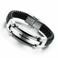 "Men's 8"" Silver Stainless Steel Cross Black Leather Wristband Bangle Bracelet"