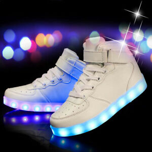 Kids Girls Boys LED Light Up USB Charge Sneakers Pumps Shoes Flashing Party Gift