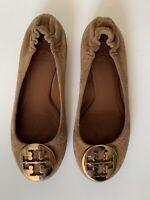 Tory Burch Brown Suade Leather Flats Ballet Gold Logo Women's Size 5 M