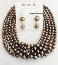 "Lia Sophia ""Cafe Au Lait"" Earrings and Necklace Set"