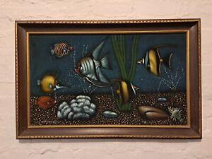 Black Velvet Painting M.Cruz Tropical Fish Aquarium Framed Original 70s Vintage