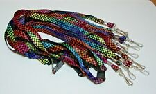 "Lot of 10 Rainbow Checkered LANYARD 36"" Neck strap ID Holder Breakaway Clasp"