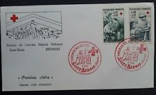 1968 Reunion Red Cross FDC  ties 2 stamps with cachets Saint-Benoit