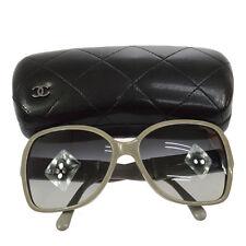 Authentic CHANEL CC Logos Sunglasses Eye Wear Gray Plastic Italy AK12767
