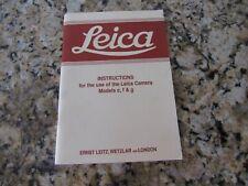 Vintage Camera Manual - Leica - Models C, F, G Hove Collector Book