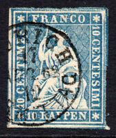 Switzerland 10 Rappen Dark Blue Stamp c1854-57 Used (1822)