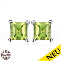 NEU 🌸 OHRRINGE Grün PERIDOT 925 Sterling Silber Ohrstecker Rhodiniert 🌸 Luxus