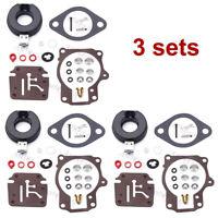 3 Carburetor Carb Rebuild Repair Kit w Float For Johnson Evinrude 382363 0382363