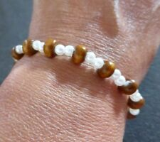 Wood & Cream Ladies Bracelet - Stretch Small Faux Pearls - Very Cheap Classic