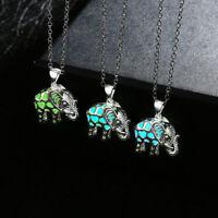 Hollow Elephant Moonstone Pendant Inlaid Vintage Glowing Necklace Luminous Magic