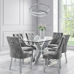 Glass & Mirrored Dining Set with 6 Grey Velvet Chairs - Jade Boutique