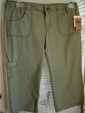 LUCKY BRAND Solid Green Cotton Capris Pants Womens Sz 10 NWT $79