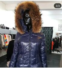 Navy Attentif Shiny Coat Thick Natural Real Fur Hood Size Uk 10 winter jacket