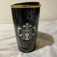 Starbucks NYC Times Square Black Gold Ceramic Coffee Tumbler Limited Edition