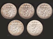 LOT 5 X 1 GULDEN 1955 1956 1957 1964 1965 PAYS BAS / NETHERLANDS Argent / Silver