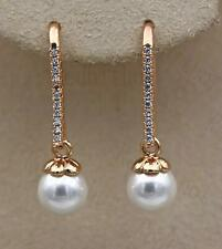 18K Gold Filled - Noble Full Topaz Zircon Gemstone Pearl Party Hook Earrings DS