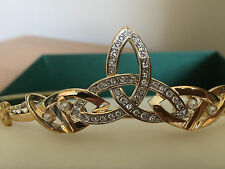 Celtic Trinity Knot Crystal & Pearl Bridal Tiara  and pendant 18ct Gold plate