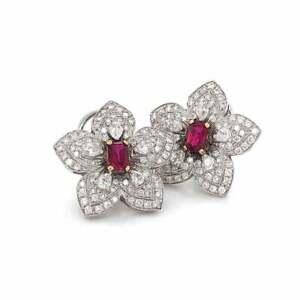 Flower Inspired Emerald Cut Burmese 2.32CT Ruby & White CZ 925 Silver Earrings
