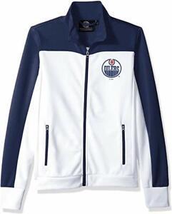 G-III NHL Edmonton Oilers Women's Play Maker Track Jacket White Medium New
